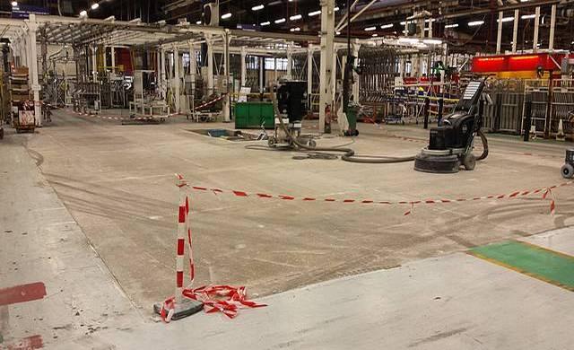 Réalisation d'un béton poli dans une unité de production de pièces automobiles